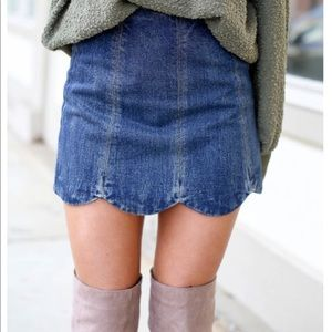 NEW WITH TAG Denim Scalloped Skirt